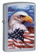 Mazzi American Eagle and Flag Zippo Lighter - Street Chrome - 24764 Zippo