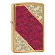 Luxury Red Gold Scroll Zippo Lighter - Brushed Brass - 28377 Zippo