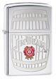 Jim Beam Barrel Zippo Lighter - High Polish Chrome - 28421 Zippo