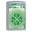 Four Leaf Clover with Grunge Stripes Zippo Lighter - Street Chrome - 28659 Zippo