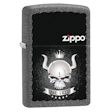 Skull with Horns and Crown with Zippo Logo Zippo Lighter - Iron Stone - 28660 Zippo