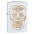 Engraved Day of the Dead Sugar Skull Zippo Lighter - White Matte - 28792 Zippo