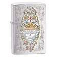 Engraved Day of the Dead Skull Zippo Lighter - Brushed Chrome - 28794 Zippo