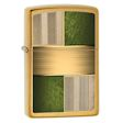 Textured Germany Block Design Zippo Lighter - Brushed Brass - 28796 Zippo