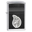 Leather Stitching with Z Flame Zippo Lighter - High Polish Chrome - 28800 Zippo