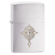 Cross with Crystal Zippo Lighter - Brushed Chrome - 28804 Zippo