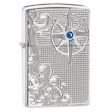 Armor Nautical Waves and Compass Zippo Lighter - High Polish Chrome - 28809 Zippo