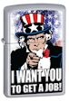 Custom Uncle Sam I Want You To Get A Job Zippo Lighter - Satin Chrome - 806901 Zippo