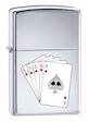 Custom Full House Poker Hand Zippo Lighter - High Polish Chrome - 834341 Zippo